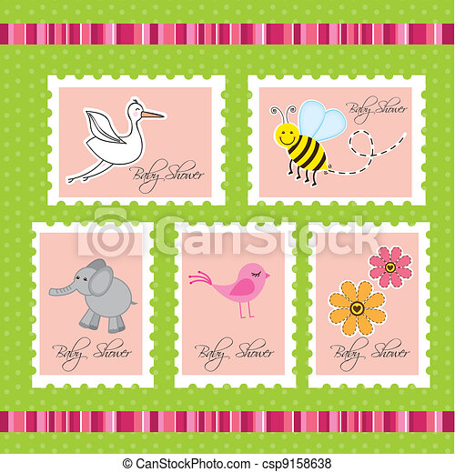 baby shower postage - csp9158638