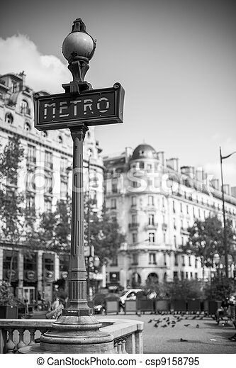 Metro sign for subway transportation in paris - csp9158795