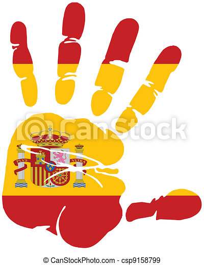 hand print of spain flag - csp9158799