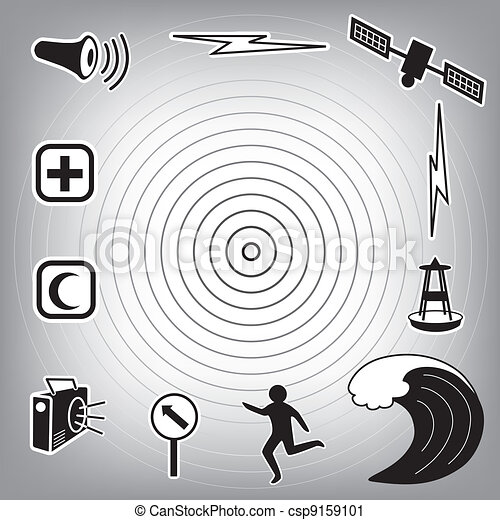 Tsunami Icons and Symbols - csp9159101