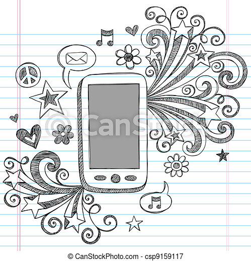 Cell Phone PDA Doodle Vector Design - csp9159117
