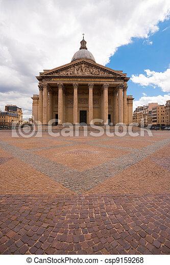 Paris Pantheon Front Overcast - csp9159268