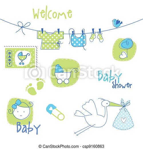 Baby shower design elements - csp9160863