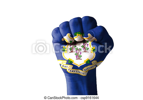 Fist painted in colors of us state of connecticut flag - csp9161644