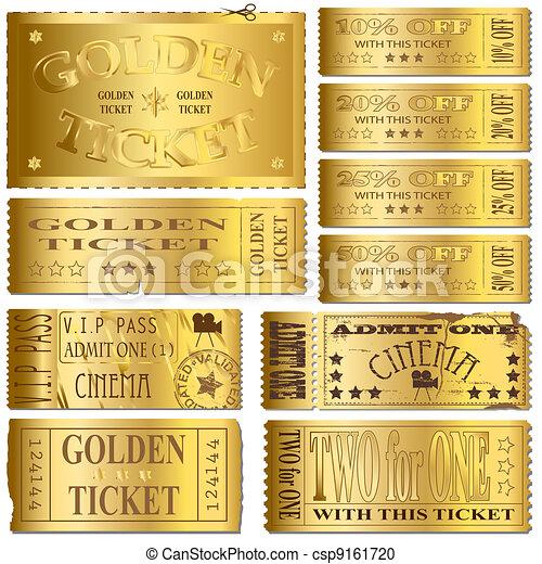 vector clip art de boletos oro oro cine y venta boleto vectores csp9161720 buscar. Black Bedroom Furniture Sets. Home Design Ideas