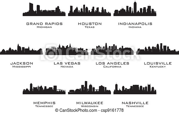 Silhouettes of the USA cities_2 - csp9161778