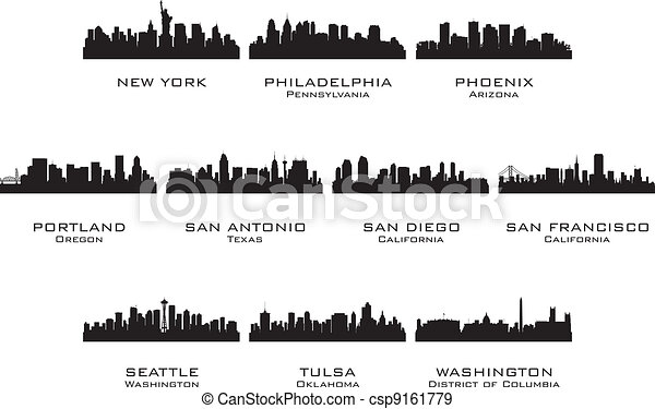 Silhouettes of the USA cities_3 - csp9161779