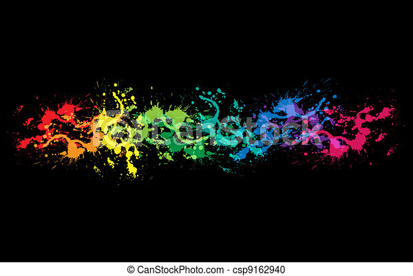 Colourful bright ink splat design - csp9162940