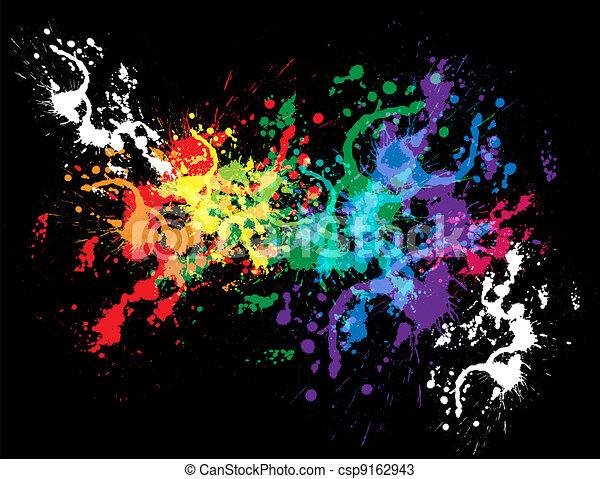 Colourful bright ink splat design - csp9162943