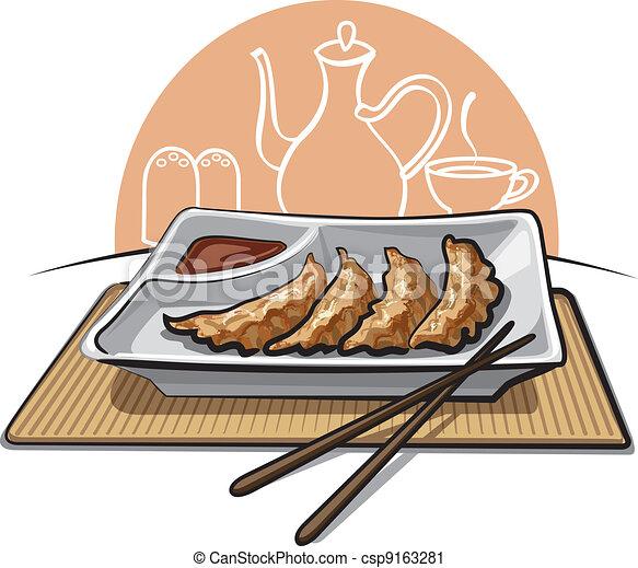 Chinese Dumpling Drawing Chinese Fried Dumplings