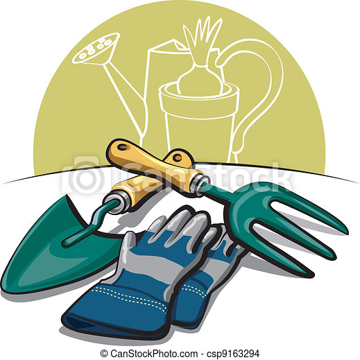gardening tools and gloves  - csp9163294