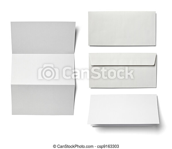 leaflet letter business card white blank paper template - csp9163303
