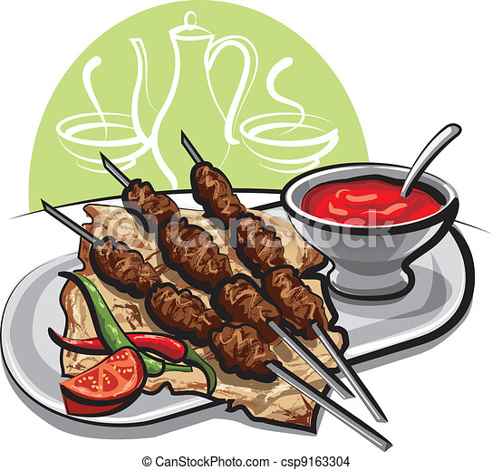 kebab with tomato sauce - csp9163304
