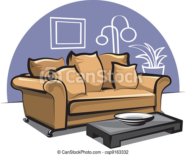 couch with pillows - csp9163332