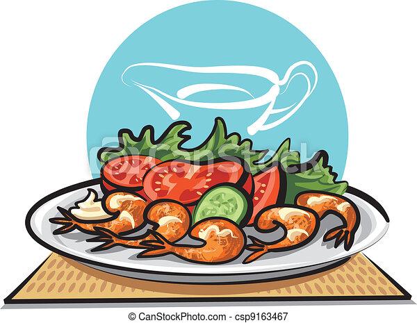 ilustraciones vectoriales de vegetales frito camarones