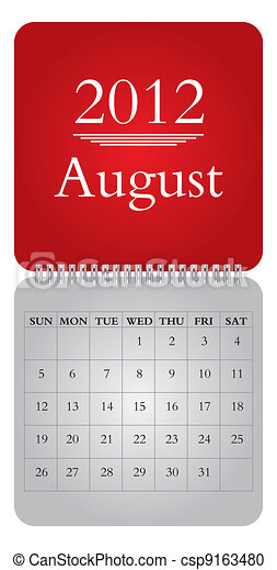 monthly calendar for 2012, August - csp9163480