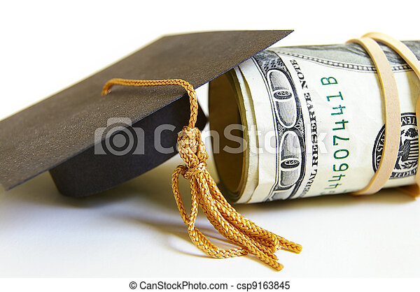 graduation cap and cash roll, closeup - csp9163845