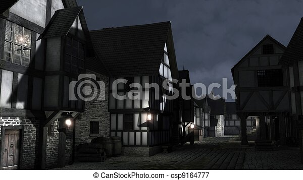 Mediaeval Town Street at Night - csp9164777