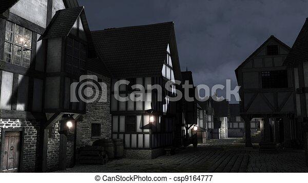 Mediaeval Town Street at Night - csp9164777