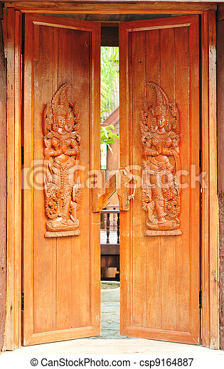 Stock Photo - Thai style wood carving & Picture of Thai style wood carving on door temple csp9164887 ... Pezcame.Com