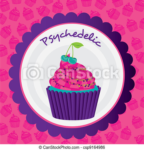 psychedelic cupcake sticker - csp9164986