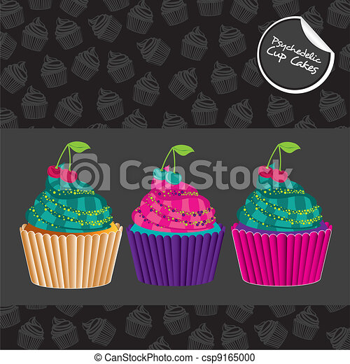 psychedelic cupcakes set - csp9165000