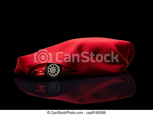 new car hidden under red cover - csp9165066