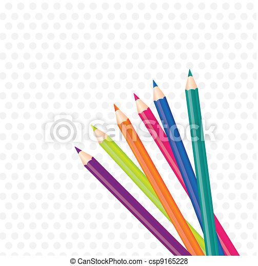 brightly colored pencils  - csp9165228