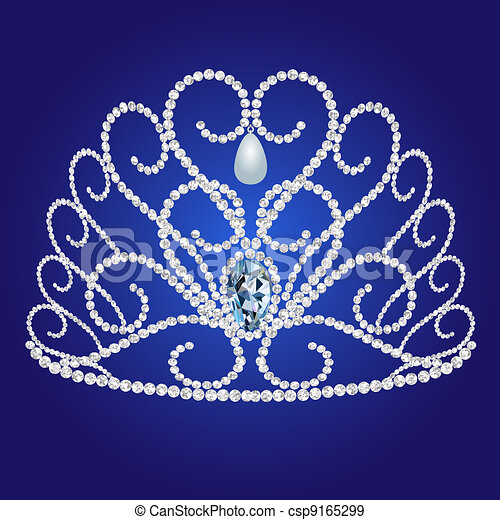 diadem feminine wedding on we turn blue background - csp9165299
