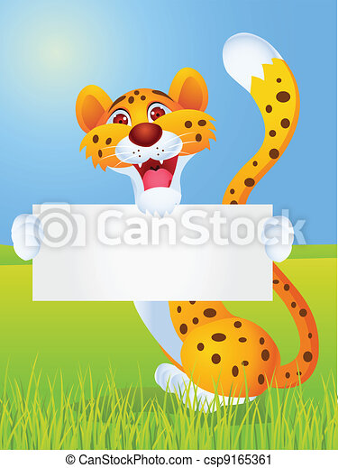 Cheetah cartoon with blank sign - csp9165361