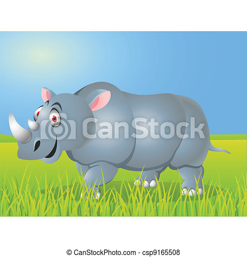 Rhino cartoon - csp9165508
