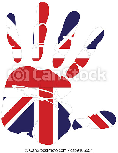 hand print of flag of uk - csp9165554