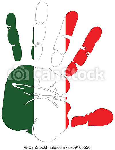 flag of Italy hand print - csp9165556