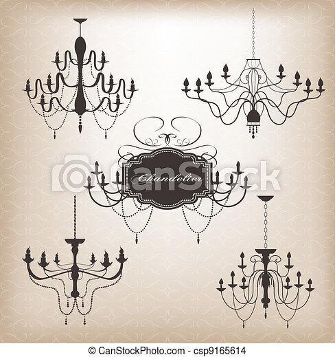 Set of different chandelier. - csp9165614