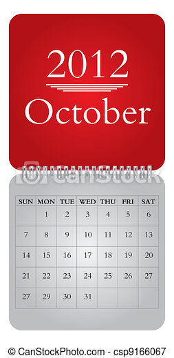 monthly calendar for 2012, October - csp9166067
