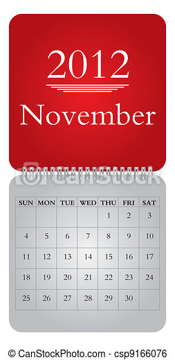 monthly calendar for 2012, November - csp9166076