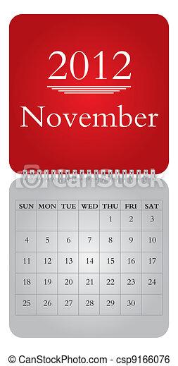monthly calendar for 2012, November - csp9166076