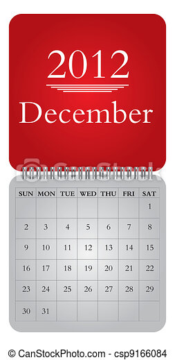 monthly calendar for 2012, December - csp9166084