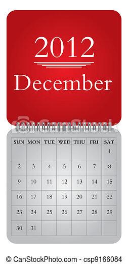 monthly calendar for 2012, December - csp9166084