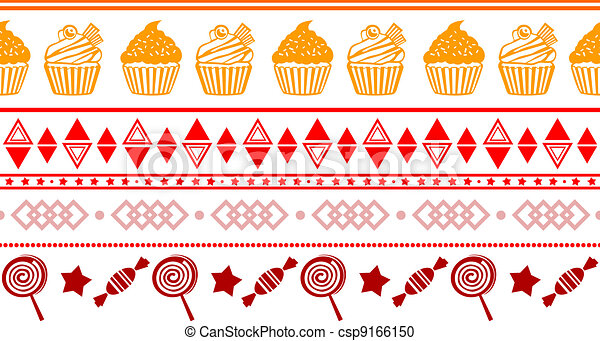 seamless confectionery colorful border - csp9166150