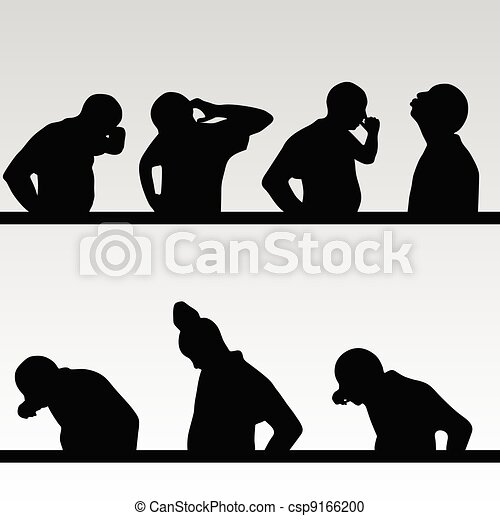 man poses silhouette close up - csp9166200