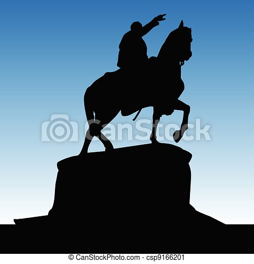 Monument of Knez Mihailo black silhouette - csp9166201