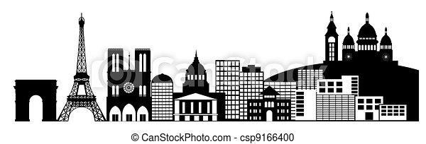 Paris France City Skyline Panorama Clip Art - csp9166400