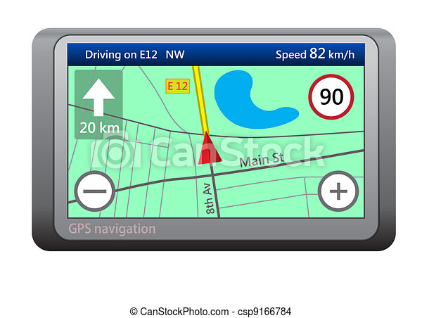 GPS navigation device isolated on white background - csp9166784