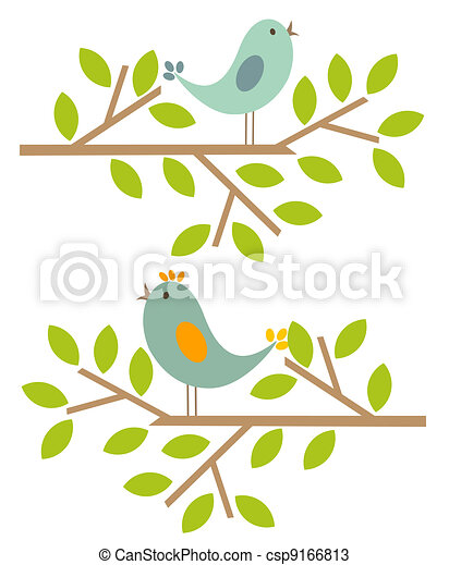 Bird house clipart free download clip art free clip art on - Vectors Of Spring Birds Couple Of Birds Singing Spring