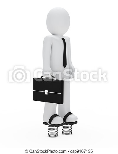 businessman with springs - csp9167135