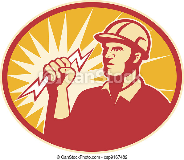 Electrician Power Line Worker Lightning Bolt - csp9167482