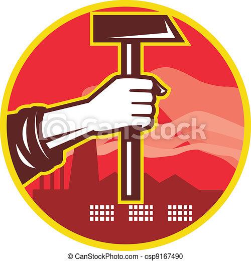 Hand Holding Hammer Factory Retro - csp9167490