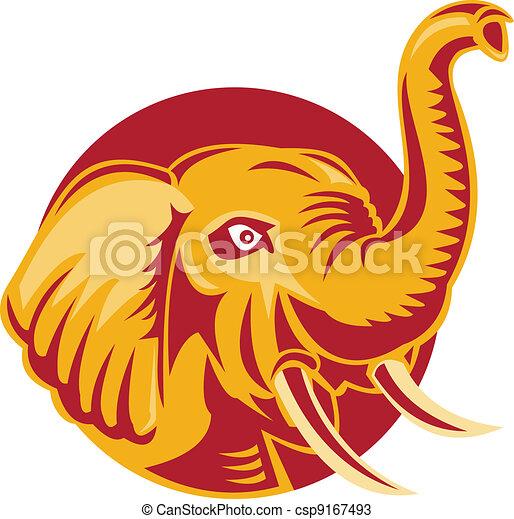 Angry African Elephant Head Retro - csp9167493