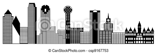 Dallas City Skyline Panorama Clip Art - csp9167753